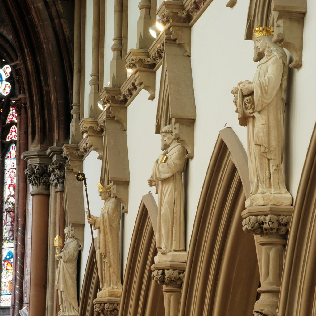 Our Story, the restored statues of saints at Manchester Monastery