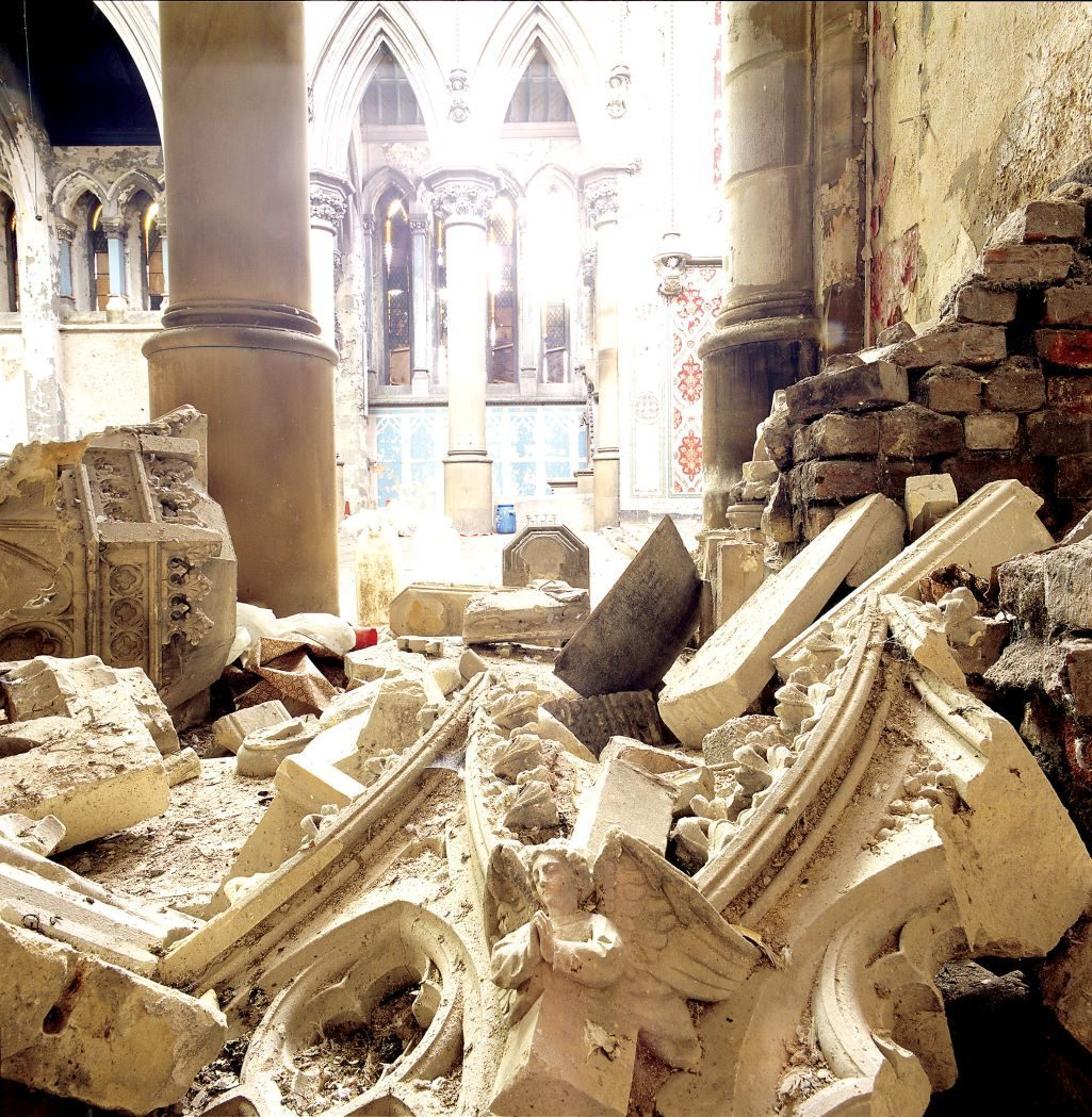Our story, fallen stonework at Manchester Monastery before it was restored