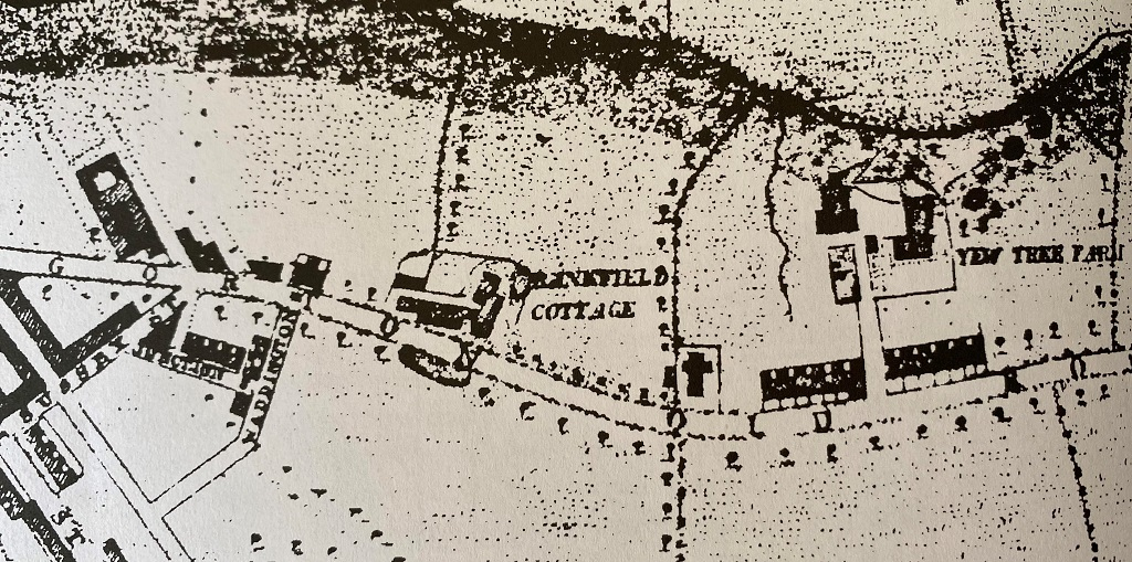 Map showing Bankfield Cottage with the chapel school to the right in 1863.