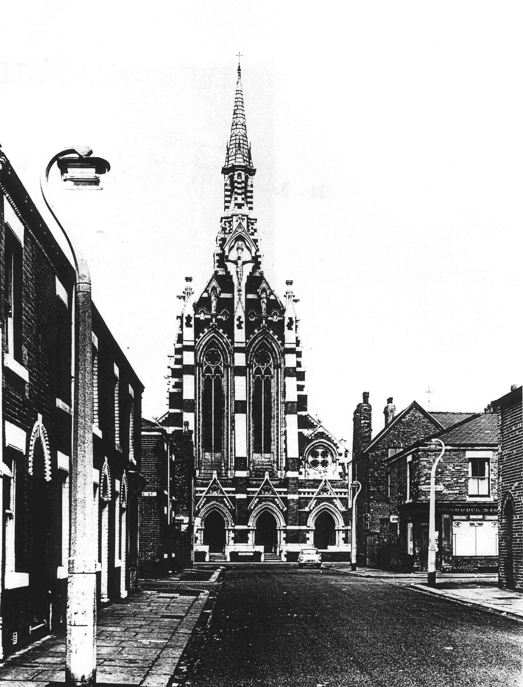 Historic photo of the front of the monastery