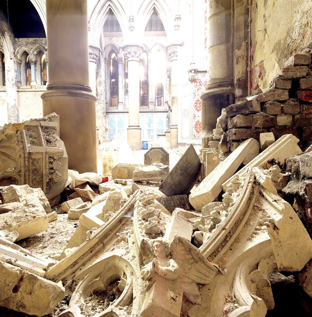 Fallen rubble in the church before its restoration